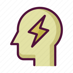 charge, energy, headache, idea, lightning, power, robot icon