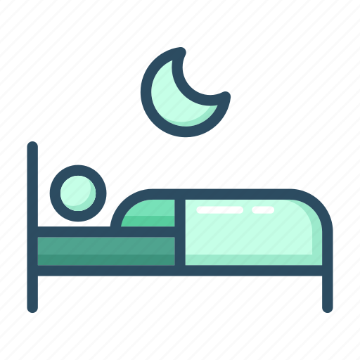 asleep, bed, bedroom, moon, night, sleep, sleeping icon