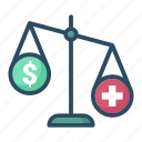 balance, health, healthcare, important, medicine, money, scales icon