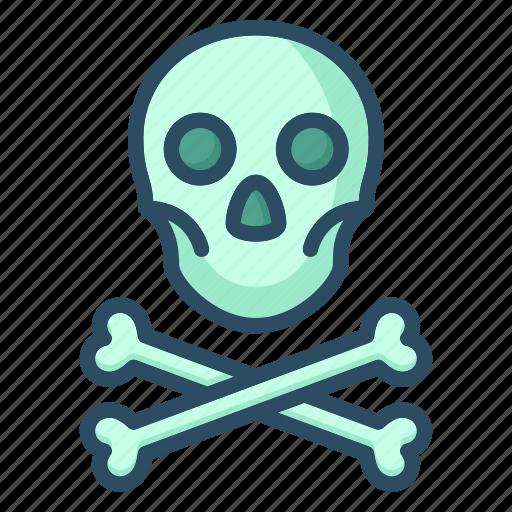 attention, bones, danger, pirate, skull, toxic, warning icon