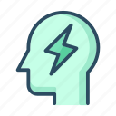 battery, energy, headache, idea, lightning, power, robot icon