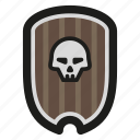game, rpg, shield, skull icon