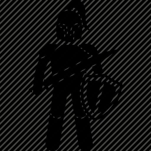 armor, fighter, man, shield, soldier, sword, warrior icon