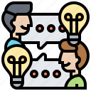communication, exchange, ideas, intelligence, solution icon