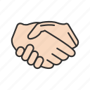 business deal, greeting, hand shake, hands icon