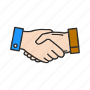 business deal, greeting, hands, handshake icon