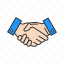 business deal, greetings, hands, handshake icon