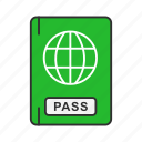 airport, international travel, passbook, passport icon