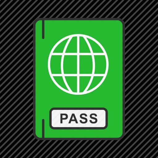 airport, international travel, passbook, passport icon