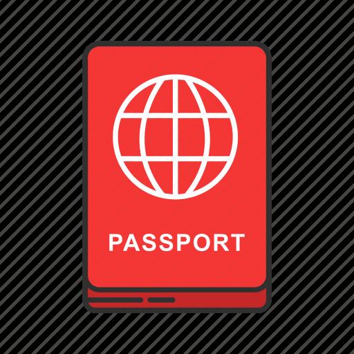 airport, identification, passbook, passport icon