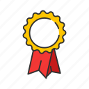 achievement, award, ribbon, top icon