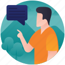 chat, communication, discourse, interaction, message icon