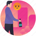 angry drunkard, angry man, drunkard, drunken, having fun, outing, partying icon
