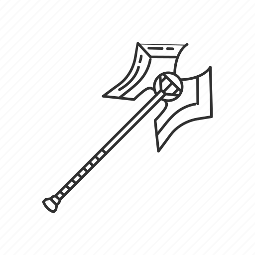 axe, blade, cutting tool, melee, stick with blade, strike, tree icon