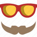 hipster, men, mustache, old, sunglasses icon
