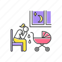 crying woman, postnatal, postpartum depression, postpartum depression icon