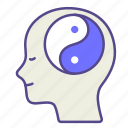 balance, meditation, mental health, mind, therapy, treatment, yin yang icon