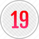 clean, count, nineteen, number icon