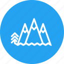 blue, circle, climbing, landscape, mountain, nature, trip icon