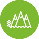circle, climbing, green, landscape, mountain, nature, trip icon