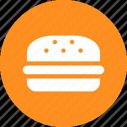 burger, circle, fast food, food, hamburger, yellow icon