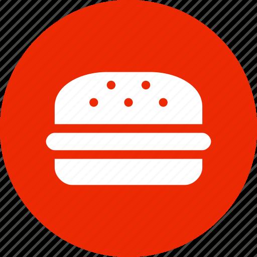 burger, circle, fast food, food, hamburger, red icon