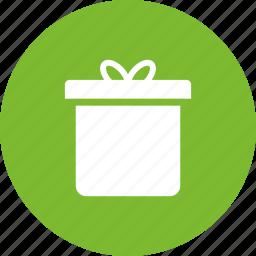 box, christmas, circle, gift, green, present icon