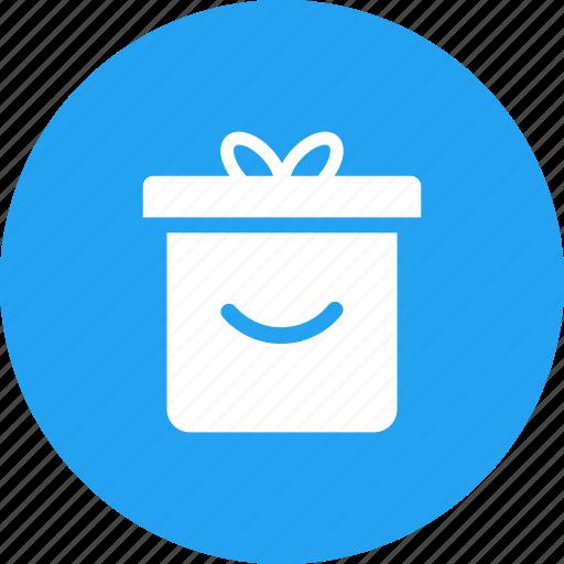 blue, box, christmas, circle, gift, present icon