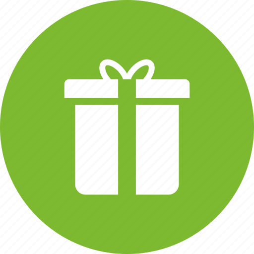 box, christmas, circle, gift, green, present icon
