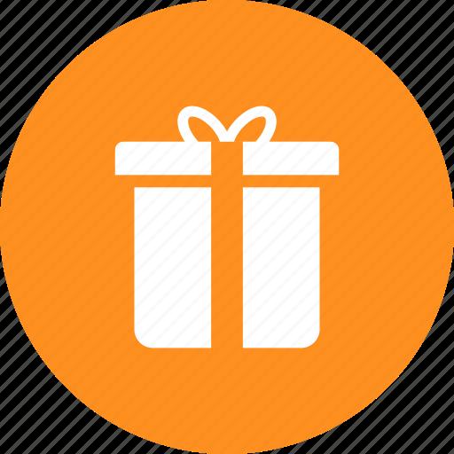 box, christmas, circle, gift, present, yellow icon