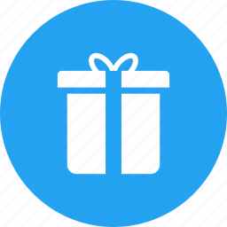 blue, box, christmas, circle, gift, present icon