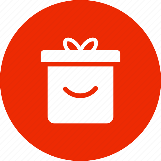 box, christmas, circle, gift, present, red icon