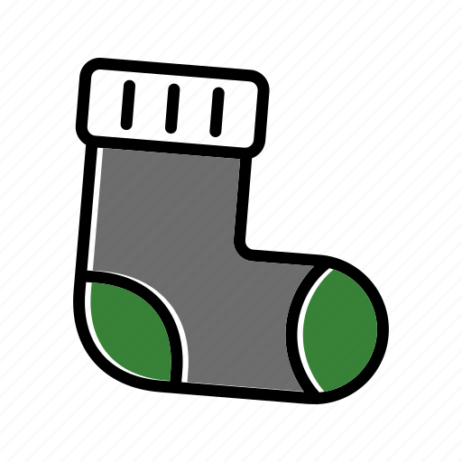 christmas, gift, present, sock, winter, xmas icon