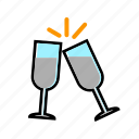 alchohol, beverage, celebration, champagne, drink, party icon