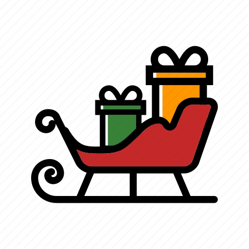 christmas, sled, sledge, sleigh, winter, xmas icon