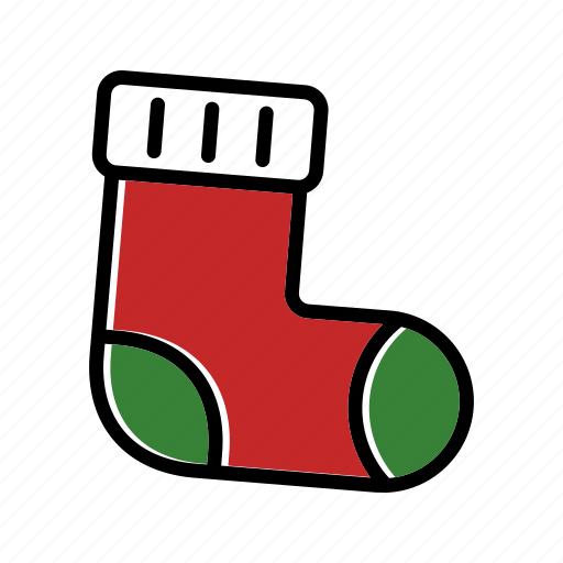 christmas, gift, present, sock, winter, xmas icon