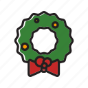 christmas, decoration, ornament, wreath, xmas icon