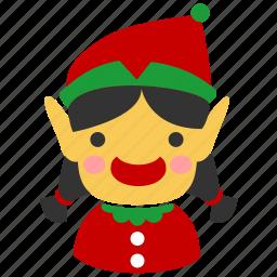 christmas, elf, female, girl, person, winter, xmas icon