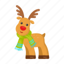 christmas, deer, happy, horns, new, scarf, year icon