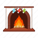 christmas, fire, fireplace, gift, happy, new, year icon