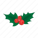 christmas, happy, holly, new, plant, year icon
