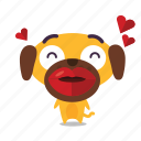 dog, emoji, kiss icon