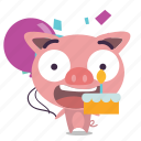 birthday, cake, pig icon