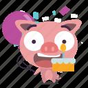 birthday, cake, pig icon