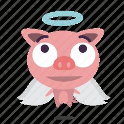 angel, animal, pig icon
