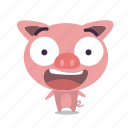 emoticon, pig, surprised icon
