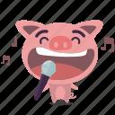 karaoke, pig, sing icon
