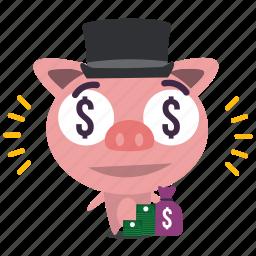 emoji, pig, rich icon