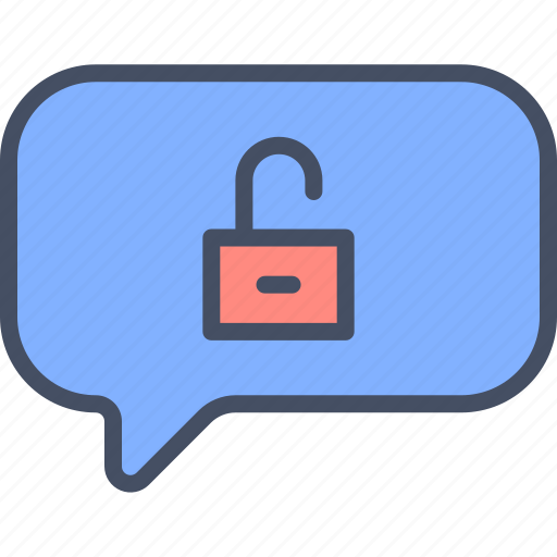 chat, message, unencrypted, unsecured icon
