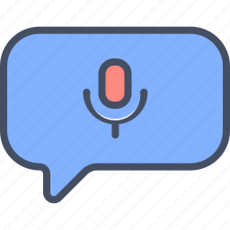 message, microphone, multimedia, on icon